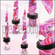 Pink Color UV Marble Straight Ear Stretcher