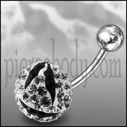 Multi Color Crystal Stone Zebra SS Curved Navel Ring
