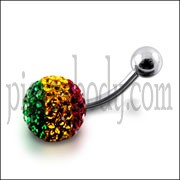 Crystal stone Jeweled Navel  Belly  Button Ring FDBLY313