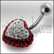 Crystal stone Heart Belly Body Jewelry Ring FDBLY322