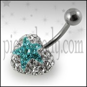 316L SS Crystal stone Heart Belly Ring FDBLY353