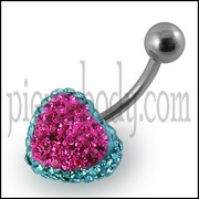 Crystal stone Heart Belly Curved Barbell Ring