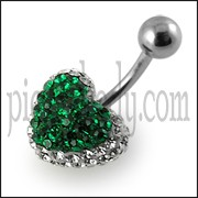 Lush Green Crystal stone Fancy Heart SS Curved Bar Belly Ring
