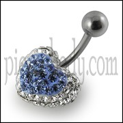 12mm multi Color Crystal stone Heart Navel Ring With Banana barbell