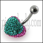 Crystal stone Green Heart Banana Bar Belly Ring FDBLY376