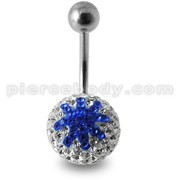 White And Blue Glitter Crystal stone Star Jeweled Ss Navel Belly Ring