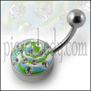 Steel Base Multi Color painted Crystal Navel Ring Body Jewelry