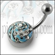 Steel Base Multi Color painted Crystal Belly Rings