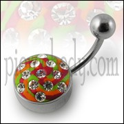 Multi Color painted Crystal Banana Bar Belly Ring with Steel Base