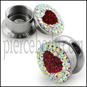 316L SS Screw Fit Crystal Stone Heart Ear Flesh Tunnel