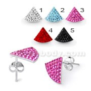Sterling Silver Crystal Triangle Ear Stud