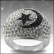 Moon And Star Crystal Dome Finger Ring