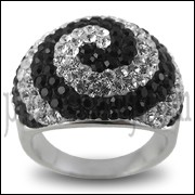 White And Black Crystal Dome Finger Ring