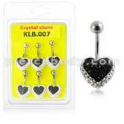 12mm Crystal stone Heart Navel Ring With Curved Banana Bar