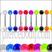 316L Surgical steel Tongue Barbells with Multi Color UV Balls