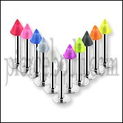 Surgical Steel Body Piercing Labret with UV Striped Cone NBBLT051