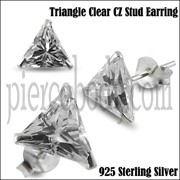 925 Sterling Silver Triangle CZ Earring