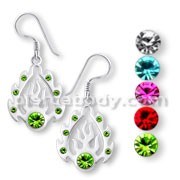 Fancy Jeweled Silver Earring with Gems