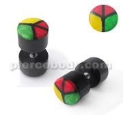 Horn Fake Ear Plug with Peace Inlay
