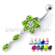 Green Flower Jeweled Fancy Silver Dangling With Curved Bar Navel Ring