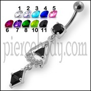 Jeweled Fancy Dangling Belly Ring