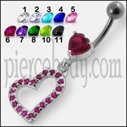Jeweled Fancy Heart Loop Silver Dangling SS Banana Navel Ring
