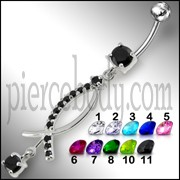 Jeweled Fancy Silver Dangling Surgical Steel banana barbell  Navel Ring