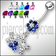 Jeweled Crown With Flower Silver Dangling Banana Bar Navel Belly Ring