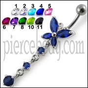 Fancy Long Tail Flower Jeweled Dangling Navel Ring