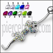 Fancy Jeweled Silver Lizard Dangling Belly Ring