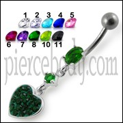 Fancy Green Jeweled  Heart Dangling SS Bar Navel Ring