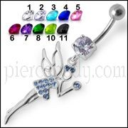 Fancy Jeweled Angle  Dangling SS Bar Curved Navel Ring