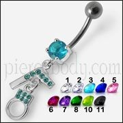 Fancy GUN And HANDCUFF Jeweled Dangling Bar Belly Ring