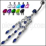 Fancy Silver Chandeliers Jeweled Dangling Navel Ring