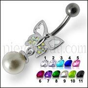 Fancy Butterfly Jeweled Pearl Dangling Curved Belly Ring Body Jewelry
