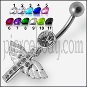 Jeweled Flying Cross Dangling Belly Ring