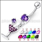 Fancy Jeweled ROAD RUNNER Dangling Banana Bar Belly Ring