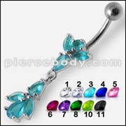Fancy Multi Stone Studded Jeweled Dangling Belly Ring Body Jewelry