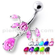 Fancy Pink Jeweled Dangling SS Bar Navel Ring Body Jewelry