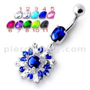 Fancy White And Blue Vintage Jeweled Dangling SS Bar Navel Ring