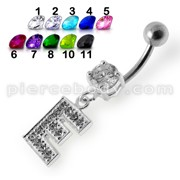 """Alphabet """"E"""" Jeweled Dangling Belly Ring"""