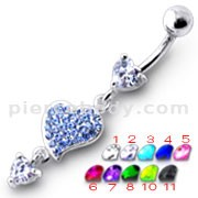 Heart Jeweled Dangling Belly Ring