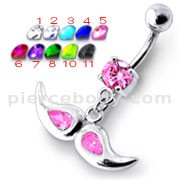 Jeweled mustache Dangling Belly Ring