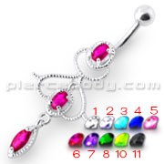 Fancy Jeweled Pink Stone Silver Dangling With Banana Bar Navel Ring