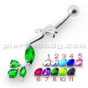 Fancy Jeweled Peafowl Dangling SS Bar Navel Ring Bod Jewelry
