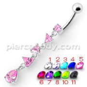 Fancy Pink Jeweled Dangling SS Bar Belly Body Jewelry Ring
