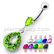 Fancy Green Stone Jeweled Pear Shape Dangling Navel Ring