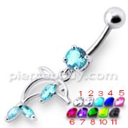 Jeweled Dolphin Dangling Navel Banana Ring