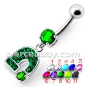 Silver Fancy Green Jeweled Horseshoe Dangling Belly Ring