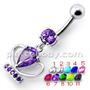 Silver Fancy Jeweled Cup Dangling Bar Belly Ring